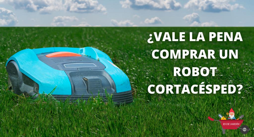 ¿Vale la pena comprar un robot cortacésped? Aparece un robot azul sobre la hierba
